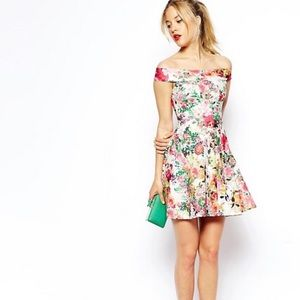 ASOS PETITE Floral Printed Bardot Skater Dress
